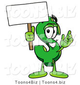 Illustration of a Cartoon Dollar Sign Mascot Holding a Blank Sign by Toons4Biz