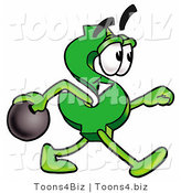 Illustration of a Cartoon Dollar Sign Mascot Holding a Bowling Ball by Toons4Biz