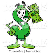 Illustration of a Cartoon Dollar Sign Mascot Holding a Dollar Bill by Toons4Biz