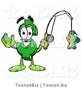 Illustration of a Cartoon Dollar Sign Mascot Holding a Fish on a Fishing Pole by Toons4Biz