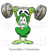 Illustration of a Cartoon Dollar Sign Mascot Holding a Heavy Barbell Above His Head by Toons4Biz