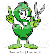 Illustration of a Cartoon Dollar Sign Mascot Holding a Pair of Scissors by Toons4Biz