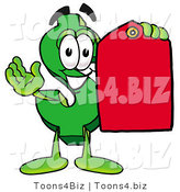 Illustration of a Cartoon Dollar Sign Mascot Holding a Red Sales Price Tag by Toons4Biz