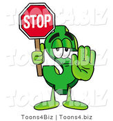 Illustration of a Cartoon Dollar Sign Mascot Holding a Stop Sign by Toons4Biz