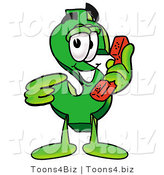Illustration of a Cartoon Dollar Sign Mascot Holding a Telephone by Toons4Biz