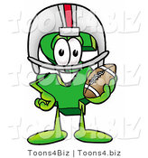 Illustration of a Cartoon Dollar Sign Mascot in a Helmet, Holding a Football by Toons4Biz