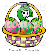 Illustration of a Cartoon Dollar Sign Mascot in an Easter Basket Full of Decorated Easter Eggs by Toons4Biz