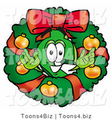 Illustration of a Cartoon Dollar Sign Mascot in the Center of a Christmas Wreath by Toons4Biz