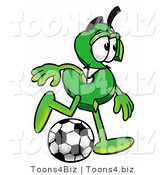Illustration of a Cartoon Dollar Sign Mascot Kicking a Soccer Ball by Toons4Biz