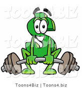 Illustration of a Cartoon Dollar Sign Mascot Lifting a Heavy Barbell by Toons4Biz