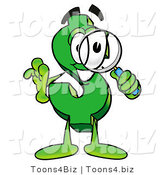 Illustration of a Cartoon Dollar Sign Mascot Looking Through a Magnifying Glass by Toons4Biz