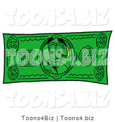 Illustration of a Cartoon Dollar Sign Mascot on a Dollar Bill by Toons4Biz