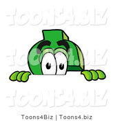 Illustration of a Cartoon Dollar Sign Mascot Peeking over a Surface by Toons4Biz