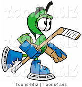 Illustration of a Cartoon Dollar Sign Mascot Playing Ice Hockey by Toons4Biz