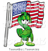 Illustration of a Cartoon Dollar Sign Mascot Pledging Allegiance to an American Flag by Toons4Biz