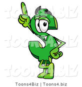Illustration of a Cartoon Dollar Sign Mascot Pointing Upwards by Toons4Biz