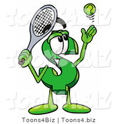 Illustration of a Cartoon Dollar Sign Mascot Preparing to Hit a Tennis Ball by Toons4Biz