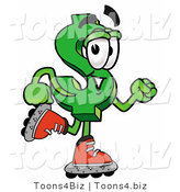 Illustration of a Cartoon Dollar Sign Mascot Roller Blading on Inline Skates by Toons4Biz