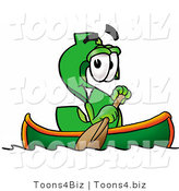 Illustration of a Cartoon Dollar Sign Mascot Rowing a Boat by Toons4Biz