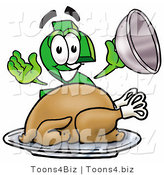 Illustration of a Cartoon Dollar Sign Mascot Serving a Thanksgiving Turkey on a Platter by Toons4Biz