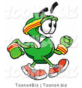 Illustration of a Cartoon Dollar Sign Mascot Speed Walking or Jogging by Toons4Biz