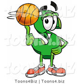 Illustration of a Cartoon Dollar Sign Mascot Spinning a Basketball on His Finger by Toons4Biz
