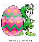 Illustration of a Cartoon Dollar Sign Mascot Standing Beside an Easter Egg by Toons4Biz