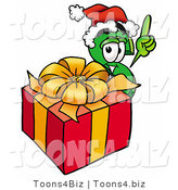 Illustration of a Cartoon Dollar Sign Mascot Standing by a Christmas Present by Toons4Biz