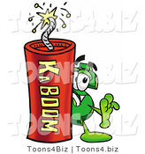 Illustration of a Cartoon Dollar Sign Mascot Standing with a Lit Stick of Dynamite by Toons4Biz