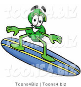 Illustration of a Cartoon Dollar Sign Mascot Surfing on a Blue and Yellow Surfboard by Toons4Biz