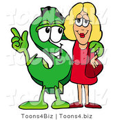 Illustration of a Cartoon Dollar Sign Mascot Talking to a Pretty Blond Woman by Toons4Biz