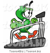 Illustration of a Cartoon Dollar Sign Mascot Walking on a Treadmill in a Fitness Gym by Toons4Biz
