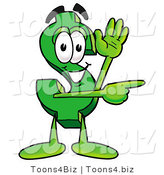 Illustration of a Cartoon Dollar Sign Mascot Waving and Pointing by Toons4Biz