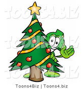 Illustration of a Cartoon Dollar Sign Mascot Waving and Standing by a Decorated Christmas Tree by Toons4Biz
