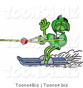 Illustration of a Cartoon Dollar Sign Mascot Waving While Water Skiing by Toons4Biz