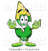 Illustration of a Cartoon Dollar Sign Mascot Wearing a Birthday Party Hat by Toons4Biz