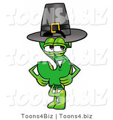Illustration of a Cartoon Dollar Sign Mascot Wearing a Pilgrim Hat on Thanksgiving by Toons4Biz