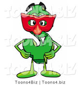 Illustration of a Cartoon Dollar Sign Mascot Wearing a Red Mask over His Face by Toons4Biz