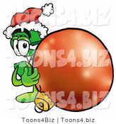 Illustration of a Cartoon Dollar Sign Mascot Wearing a Santa Hat, Standing with a Christmas Bauble by Toons4Biz
