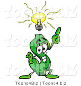 Illustration of a Cartoon Dollar Sign Mascot with a Bright Idea by Toons4Biz