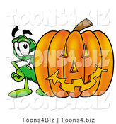 Illustration of a Cartoon Dollar Sign Mascot with a Carved Halloween Pumpkin by Toons4Biz