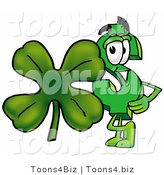 Illustration of a Cartoon Dollar Sign Mascot with a Green Four Leaf Clover on St Paddy's or St Patricks Day by Toons4Biz