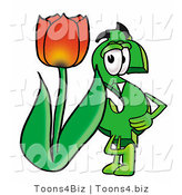 Illustration of a Cartoon Dollar Sign Mascot with a Red Tulip Flower in the Spring by Toons4Biz