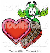 Illustration of a Cartoon Dollar Sign Mascot with an Open Box of Valentines Day Chocolate Candies by Toons4Biz
