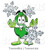 Illustration of a Cartoon Dollar Sign Mascot with Three Snowflakes in Winter by Toons4Biz