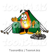 Illustration of a Cartoon Fire Droplet Mascot Camping with a Tent and Fire by Toons4Biz
