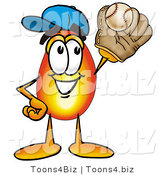 Illustration of a Cartoon Fire Droplet Mascot Catching a Baseball with a Glove by Toons4Biz