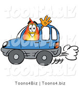 Illustration of a Cartoon Fire Droplet Mascot Driving a Blue Car and Waving by Toons4Biz