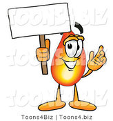 Illustration of a Cartoon Fire Droplet Mascot Holding a Blank Sign by Toons4Biz
