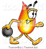 Illustration of a Cartoon Fire Droplet Mascot Holding a Bowling Ball by Toons4Biz